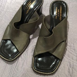 Olive green slides with heel , very comfortable